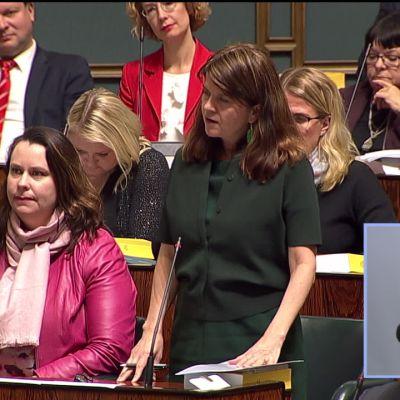 Ruutukaappaus Eduskunnan kyselytunti -lähetyksestä, jossa kuvassa näkyy kansanedustajia istuntosalissa. Kuvan oikeassa alareunassa on pieni ruutu, jossa on viittomakielen tulkki.