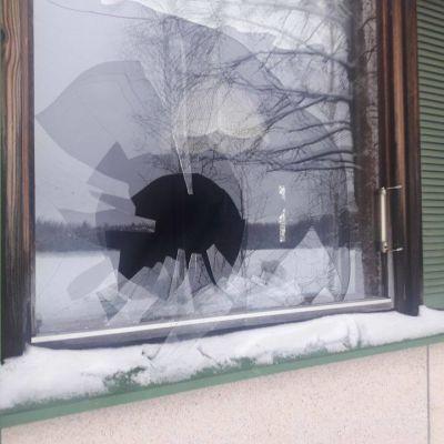Omakotitalon ikkuna hajosi Juvalla, kun kanahaukka lensi lasia päin.