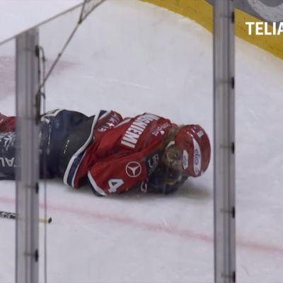 Karmea tilanne HIFK:n ottelussa: Iikka Kangasniemi sai kiekon kasvoihin
