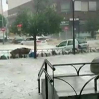 Tulva vei autotkin mukanaan Madridissa