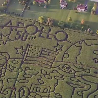Apollo 11 -kuulento sai hehtaarien kokoisen labyrintin maissipeltoon 50-vuotisjuhlan kunniaksi