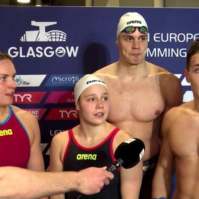 Uimarit käyttivät hulvattomia kielikuvia EM-uintien tv-haastatteluissa