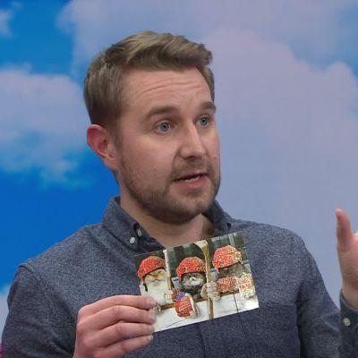 Koomikko Joonas Nordman lähetti kortilla kiitokset kärsivällisyydestä ja hyvistä neuvoista ala-asteen opettajalleen