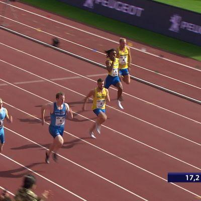 Suomen miehille kolmoisvoitto Ruotsi-ottelun 200 metrillä