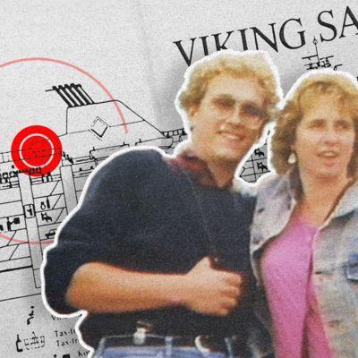 Vanha valokuva pariskunnasta ja taustalla laivan kartta.
