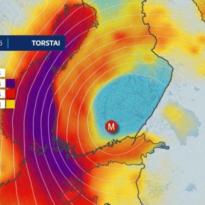 Myrskymatalapaine liikkuu Suomen yli
