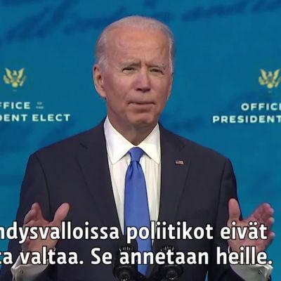 Joe Bidenin voitto varmistui, katso uuden presidentin puhe valitsijakokoukselle.