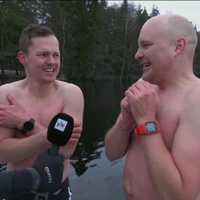 Miten kävi, kun Palander ja Jauhojärvi ottivat mittaa avantouinnissa?