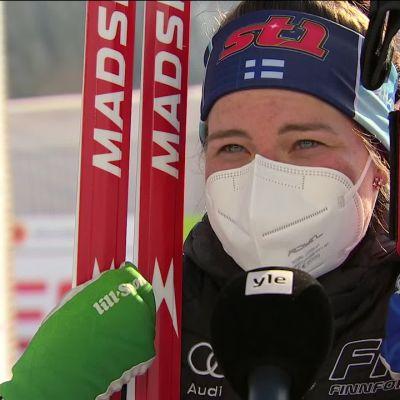 Krista Pärmäkoski kommentoi hiihtoaan täristen 30 kilometrin kisan jälkeen