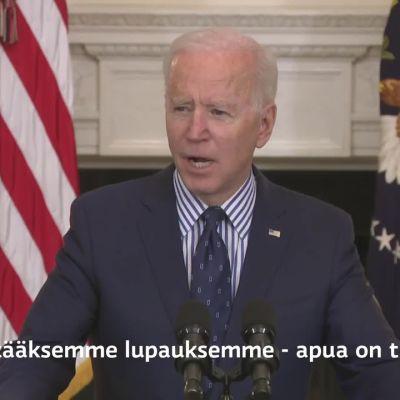 Presidentti Biden kommentoi elvytyspaketin etenemistä