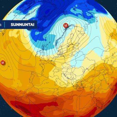 Kylmää ilmaa  virtaa suureen osaan Eurooppaa