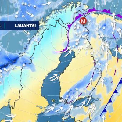 Voimakas matalapaine liikkuu Suomen yli koilliseen