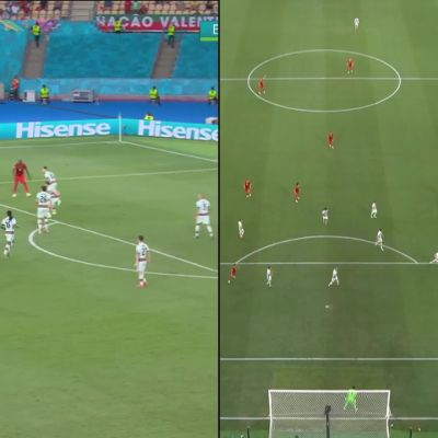 Katso Belgian voittomaali kahdesta eri kuvakulmasta