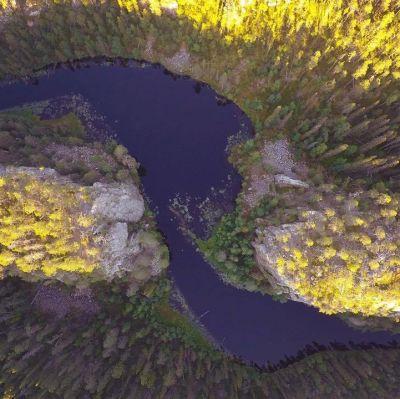 Aventojoki kuvattuna ilmasta