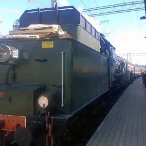 Höyryjuna tyyppiä Ukko-Pekka (HR 1) Lahden rautatieasemalla 8/2015