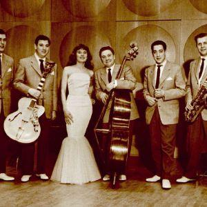 Onni Gideonin orkesteri,Teuvo Suojärvi, Herbert Katz kitaran kanssa, solistina Viola Talvi (Wiola Talvikki), Onni Gideon basson kanssa, Ville Katz ja Ossi Malinen. (1950)