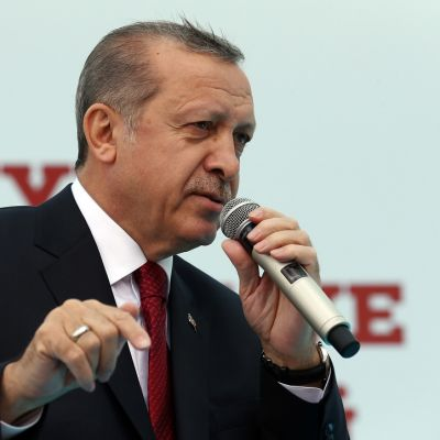 Erdoğan puhuu vasemmassa kädessään olevaan mikrofoniin ja osoittaa oikean kätensä etusormella alaspäin. Hänellä on tumma puku, punainen ruudullinen kravatti.