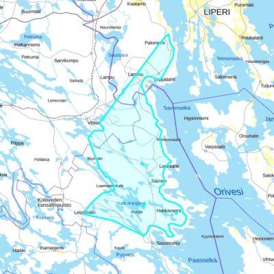 Kartta varausalueesta, joka ulottuu Savonrannalta Liperin Onkisalmelle.