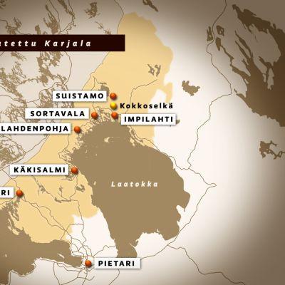 Kartta Karjalan alueesta.