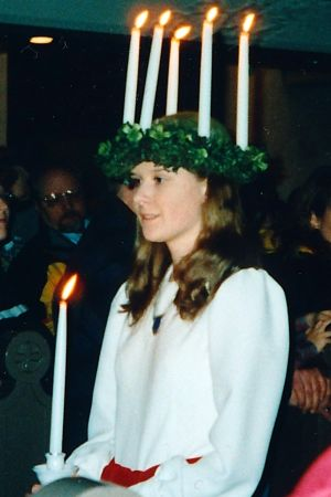 Katarina Lind som lucia 1998.