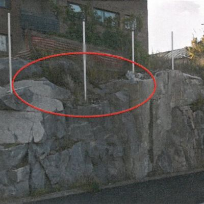 En bergskärning i Hangö.