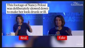 En skärmdump från en video som visar en video på Nancy Pelosi som går i slow motion.
