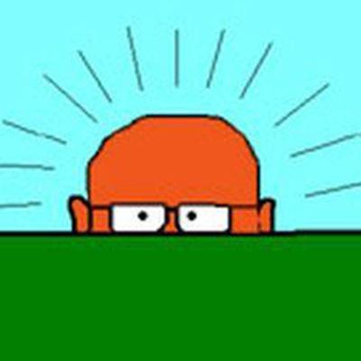 Piirrustus Urho Kekkosesta vihreän asian takana. Vihreä asia peittää hänen kasvonsa silmistä alaspäin.