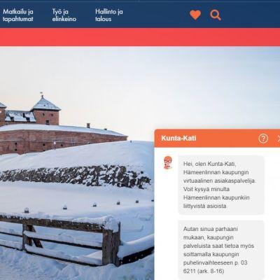 Kuvakaappaus Hämeenlinnan kaupungin verkkosivusta