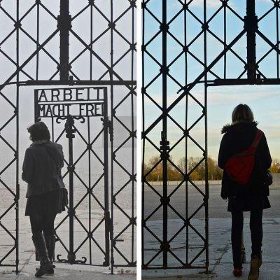 Dachaun portti ennen ja jälkeen varkauden.