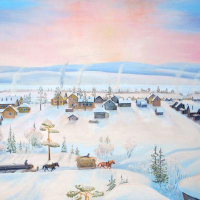 Sven Lokan maalaus Päiväjärven kylästä.