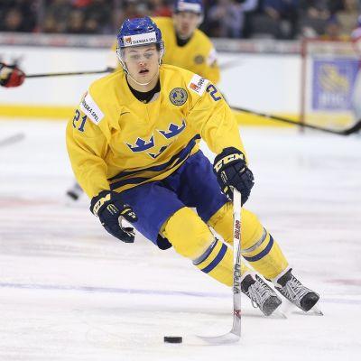 Ruotsin William Nylander kiekossa.