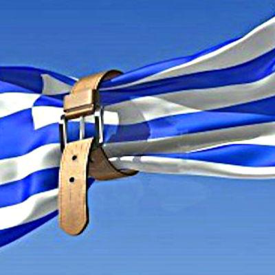Greklands flagga med ett bälte.