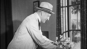 Mies asettelee kukkia