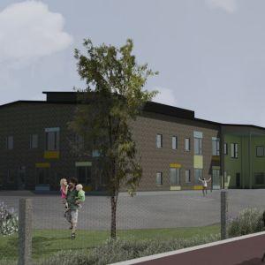 Havainnekuva koulurakennuksesta. Julkisivu on tiilestä, tehosteina värikkäitä julkisivulevyjä.