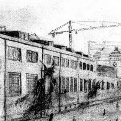 illustration där skuggor av fan projiceras mot husväggar i en stad