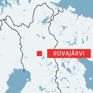 Rovajärvi utprickat på en karta.