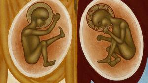ikon av Johannes och Jesus i sina mammors magar