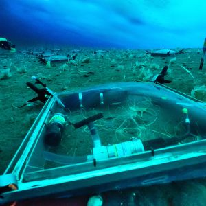 Ett fyrkantigt forskningsinstrument på havsbottnen i Antraktis.