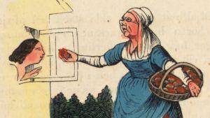 Satukirjan kuvitusta, missä Lumikin äitipuoli tarjoaa myrkytettyä omenaa tytärpuolelleen
