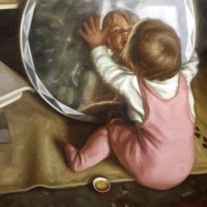 Nona, pikkutyttö peilailee, Stenvallin maalaus