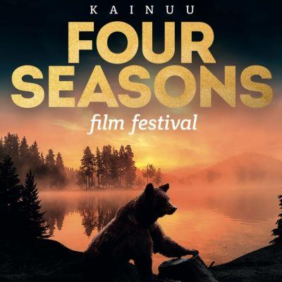 Elokuvafestivaalin julisteessa karhu istuu metsälammen edessä.