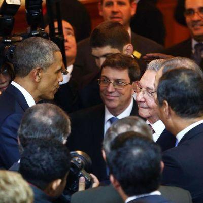 Obama och Castro skakar hand