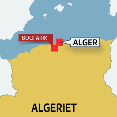 Karta över Algeriet med Boufarik och Alger.