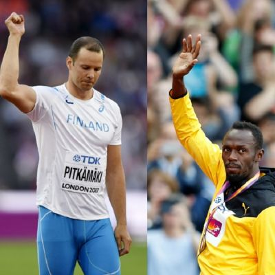Bildkollage med Mo Farah, Tero Pitkämäki och Usain Bolt i VM 2017.