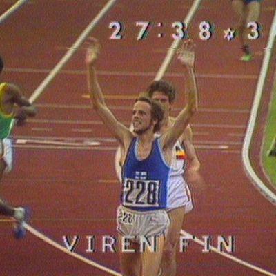Lasse Virénin voittotuuletus.