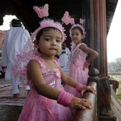 Kaksi vaaleanpunaisiin varsovaatteisiin ja perhosten koristamiin tuntosarviin puettua pikkutyttöä moskeijan ikkunan ääressä.