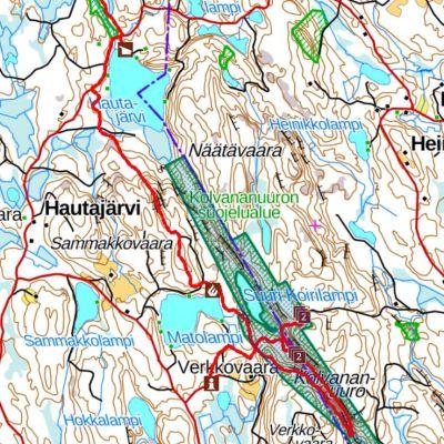 Kartta Kolvananuuron rotkolaakson luonnonsuojelualueesta.