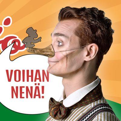 Pinokkion nimiroolissa on Jarno Jokiharju, joka on tehnyt myös näytelmän musiikin ja laulujen sanoitukset.