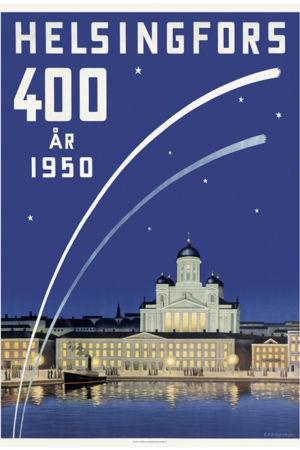 """Tecknad affisch av Helsingfors med texten """"Helsingfors 400 år 1950""""."""