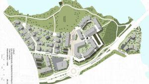 En kartbild som visar det planerade bostadsmässoområdet i Hiidensalmi i Lojo. (Hela kartan syns inte på bilden.)